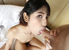 Shy Thai Ladyboy Gets A Full Facial From Tourist
